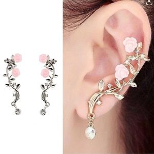 Jewelry - ARRIVED! Rose Ear Cuff Earring Climber Pair